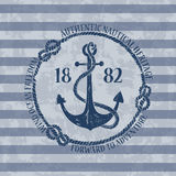 Nautical emblem with anchor Royalty Free Stock Image