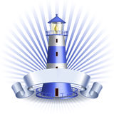 Nautical emblem with Blue lighthouse Royalty Free Stock Photography