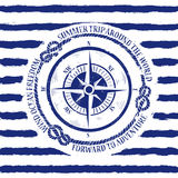 Nautical emblem with compass Royalty Free Stock Images