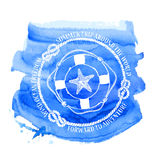 Nautical emblem with compass lifebuoy and starfish stock illustration