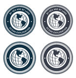 Nautical emblem with globe Royalty Free Stock Image