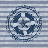 Nautical emblem with lifebuoy and starfish Stock Photography