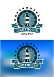 Nautical emblem with a lighthouse Royalty Free Stock Photo
