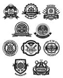 Nautical emblem and marine heraldic badge set. Sea anchor, helm, compass rose, lighthouse, ship bell, captain cap, spyglass with rope, chain, lifebuoy, shield vector illustration