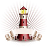 Nautical emblem with Red lighthouse Royalty Free Stock Photos