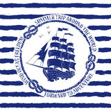 Nautical emblem with sailing ship Royalty Free Stock Photos