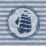 Nautical emblem with sailing ship Royalty Free Stock Photography