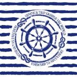 Nautical emblem with sea wheel stock illustration