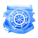 Nautical emblem with sea wheel Royalty Free Stock Images