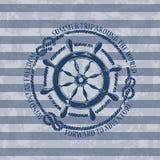 Nautical emblem with sea wheel royalty free illustration
