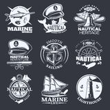 Nautical Emblem Set On Black Royalty Free Stock Image
