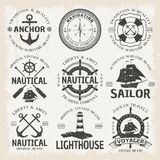 Nautical Emblem Set In Color Royalty Free Stock Images
