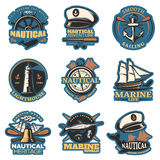 Nautical Emblem Set In Color Royalty Free Stock Photo