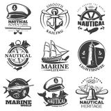 Nautical Emblem Set Royalty Free Stock Photos