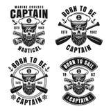 Nautical emblems with captain skull in skipper hat stock illustration