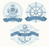 Nautical emblems with hand drawn elements
