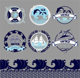 Nautical emblems set with marine object and silhouettes. Stock Photos