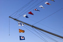 Nautical flag alphabet. Frigate Sarmiento, Puerto Madero Neighborhood, Buenos Aires, Argentina Stock Photos