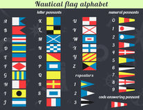 Nautical flag alphabet. Vector illustration. A complete set of Nautical flags. Communication system used in sailing. You can use it for the print on cups, on the Royalty Free Stock Photos