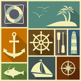 Nautical flat icons Stock Photography