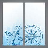 Nautical flayers with  seafaring elements Royalty Free Stock Photos