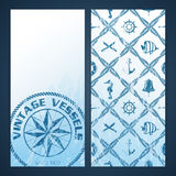 Nautical flayers with seafaring elements Stock Images