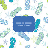 Nautical flip flops blue and green frame seamless Royalty Free Stock Images