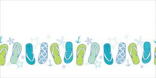 Nautical flip flops blue and green horizontal seamless pattern background Stock Photo