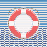 Nautical frame with lifebuoy Royalty Free Stock Photography