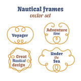 Nautical frames set. Ropes swirls. Decorative vector knots. Ornamental decor elements with rope.  design. Royalty Free Stock Photos
