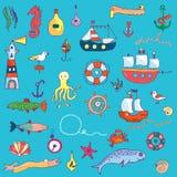 Nautical funny set for kids Stock Image