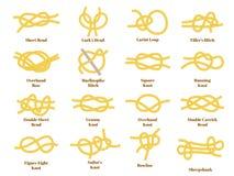 Nautical golden yellow knots on white background, vector. Nautical golden yellow knots on white background. Cartoon flat style vector illustration stock illustration
