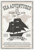 Nautical Grey Poster. With headline sea adventures welcome on the board and large black ship vector illustration Royalty Free Stock Image