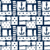Nautical grunge geometric lattice, stripes, anchors and dots seamless pattern, vector Stock Photo