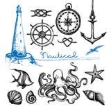 Nautical Hand Drawn Set Stock Photos
