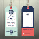 Nautical hanging tag wedding invitation and RSVP card  with fishnet rope design. On wood background Stock Photos