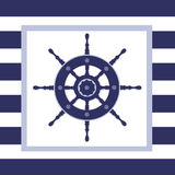 Nautical Helm Wheel. Illustration of a blue helm wheel in a frame with a navy blue and white stripped background Vector Illustration