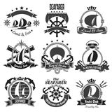 Nautical heraldic symbols, marine vector icons set royalty free illustration