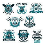 Nautical heraldic vector icons of marine seafarer Royalty Free Stock Photos