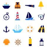 Nautical icon. Set of nautical icon illustration vector Stock Image