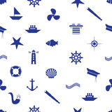Nautical icon seamless pattern eps10 Stock Image