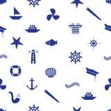 Nautical icon seamless pattern eps10. Nautical icon seamless blue pattern eps10 Stock Image