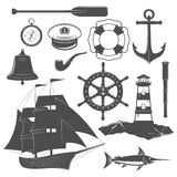 Nautical Icon Set. Nautical  black icon set equipment and form of the ships captain and marine elements vector illustration Stock Images