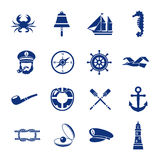 Nautical Icon Set In Blue Royalty Free Stock Photo