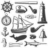 Nautical Icon Set. Captain attributes marine inhabitants and elements black and isolated vector illustration Stock Image