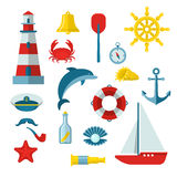 Nautical Icon Set. Nautical colored icon set with equipments and accessories on the marine theme  vector illustration Stock Image