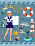 Nautical icon set, cruise images. Vector design elements royalty free illustration