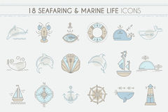 Nautical icon set, line style design elements. Royalty Free Stock Photos