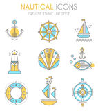 Nautical icon set, minimalistic flat design with thin strokes Royalty Free Stock Images