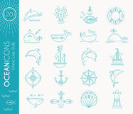 Nautical icon set, minimalistic flat design with thin strokes Stock Photos